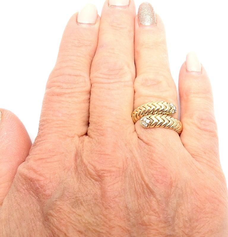 Bulgari Spiga Diamond Snake Yellow Gold Band Ring For Sale 4
