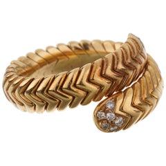 Bulgari Spiga Diamond Vintage Yellow Gold Ring