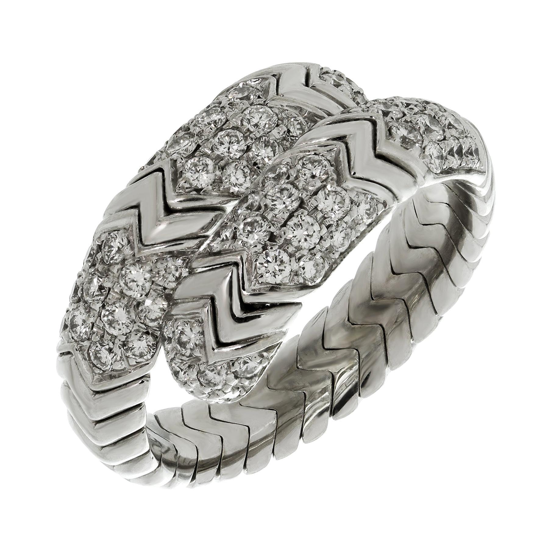 Bulgari Spiga Diamond White Gold Flexible 2-Row Snake Ring