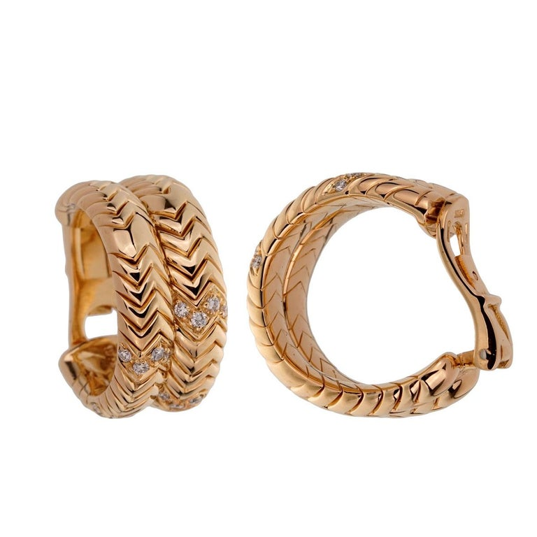 Bulgari Spiga Diamond Yellow Gold Earrings In Excellent Condition For Sale In Feasterville, PA