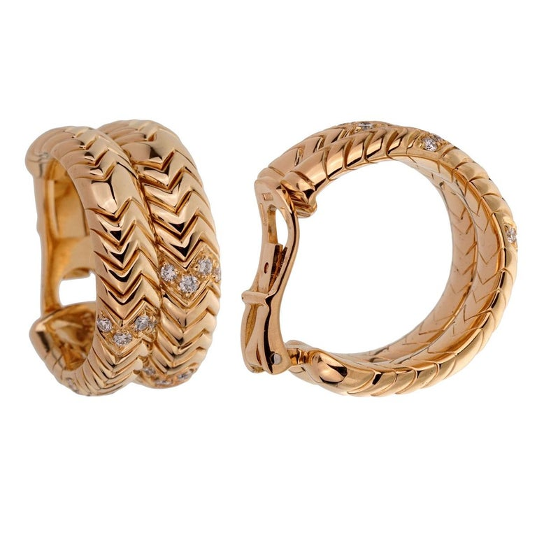 Bulgari Spiga Diamond Yellow Gold Earrings For Sale 1