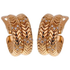 Bulgari Spiga Diamond Yellow Gold Earrings