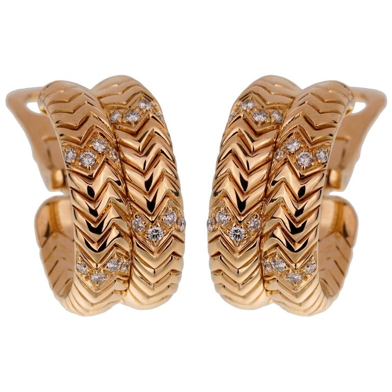 Bulgari Spiga Diamond Yellow Gold Earrings For Sale