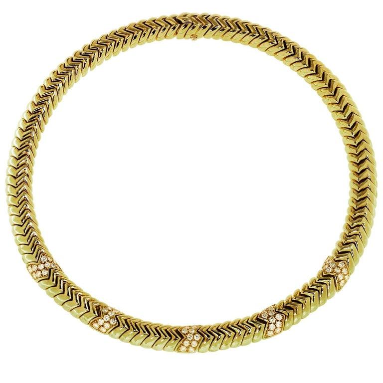 Bulgari Spiga Diamond Yellow Gold Necklace
