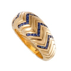 Bulgari Spiga Invisible Set Sapphire Yellow Gold Band Ring