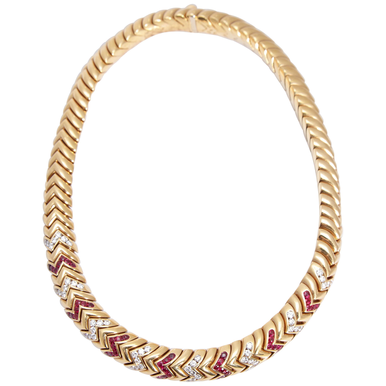 Bulgari Spiga Rubies Diamonds Necklace