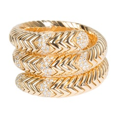 Bulgari Spiga Wrap Diamond Bracelet in 18 Karat Yellow Gold 3.5 Carat