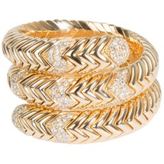 Bulgari Spiga Wrap Diamond Bracelet in 18 Karat Yellow Gold 3.50 Carat