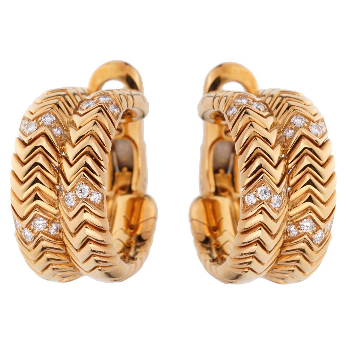 Bulgari Spiga Yellow Gold Diamond Earrings