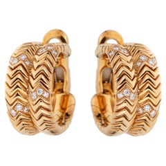 Bulgari Spiga Yellow Gold Diamond Earrings