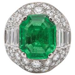 Bulgari SSEF Certified Colombian Emerald Diamond Trombino Ring