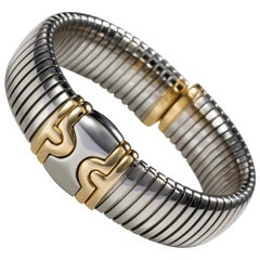 Bulgari Stainless Steel and 18 Karat Yellow Gold Parentesi Tubogas Cuff Bangle
