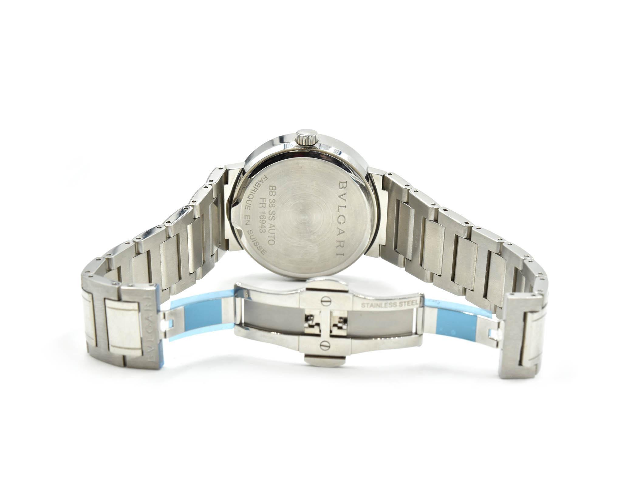 buy popular 06f59 b07d3 Bulgari Stainless Steel Automatic Wristwatch Ref BB38SS