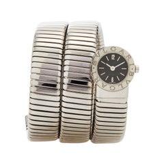 Bulgari Stainless Steel Tubogas Wrap Bracelet Quartz Wristwatch