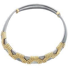 Bulgari Steel and Gold Choker Necklace