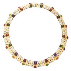 Bulgari Steel Gold Gem-Set Necklace