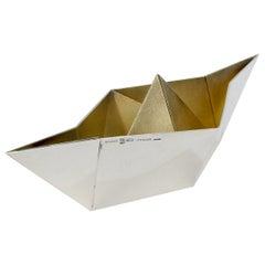 Bulgari Sterling Silver Origami Boat Paperweight, 1974