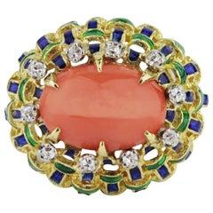 Bulgari Style, 18 Karat Gold, Enamel, Coral and Diamond Ring