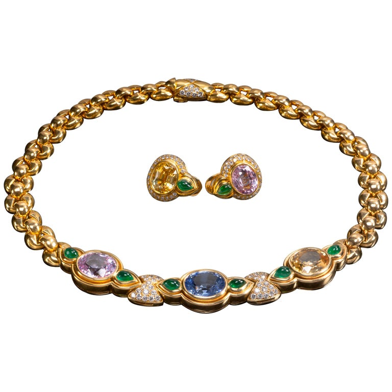 Bulgari Suite, Multicolored Sapphire, Emerald and Diamond Necklace and Ear Clips For Sale