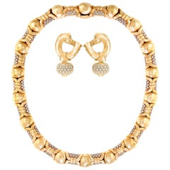 Bulgari Suite Necklace and Earrings in 18 Karat Gold and 12 Carat Diamonds