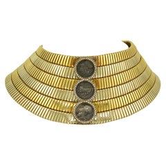 Bulgari Three-Coin, Diamond Cuff Choker Necklace