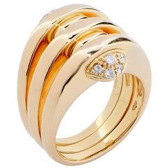 Bulgari Three-Section Diamond 18 Karat Yellow Gold Ring