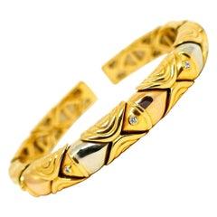 Bulgari Three-Tone Gold Diamond Fish Bangle Open Bracelet