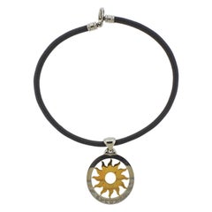 Bulgari Tondo Gold and Steel Sun Pendant Leather Cord Necklace