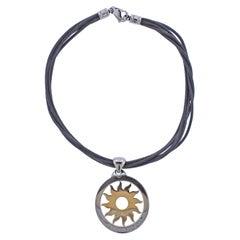 Bulgari Tondo Gold Steel Large Sun Pendant Cord Necklace