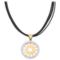 Bulgari Tondo Sun 18 Carat Yellow Gold Stainless Steel Pendant and Necklace