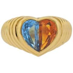 Bulgari Topaz Citrine Gold Heart Ring