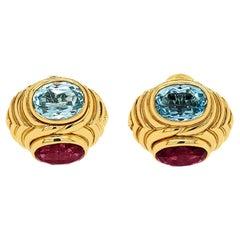 Bulgari Topaz Rubelite Earrings