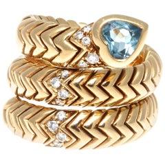 Bulgari Topaz Spiga 18 Karat Gold Ring