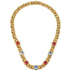 Bulgari Tourmaline Sapphires Chain Necklace