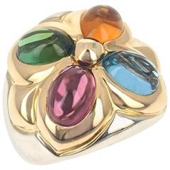 Bulgari Tourmaline Topaz Citrine Two-Tone Gold Ring