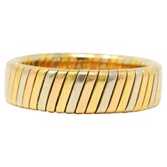 Bulgari Tri-Color 18 Karat Gold Italian Tubogas Band Ring