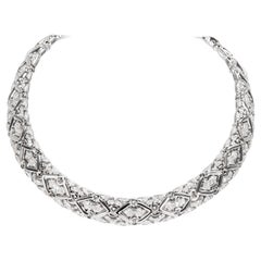 Bulgari Trika Diamond Necklace in 18 Karat White Gold 7.5 Carat