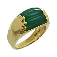 Bulgari Tronchetto Green Chrysoprase Yellow Gold Ring