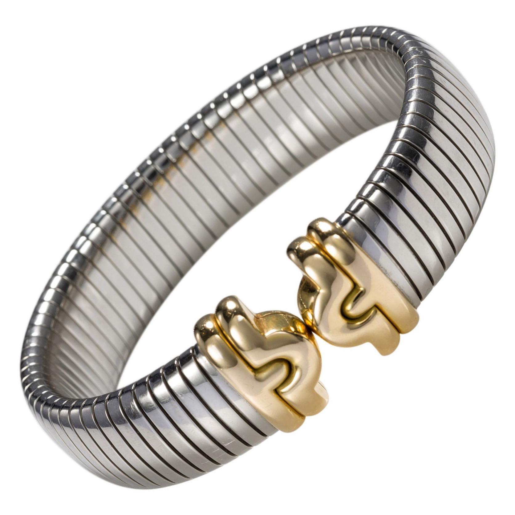 Bulgari Tubogas 18 Karat Gold and Steel Bangle Cuff Bracelet