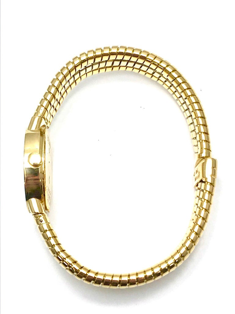 Bulgari Tubogas 18 Karat Tri-Color Gold Open Flex Watch Bangle Bracelet For Sale 5