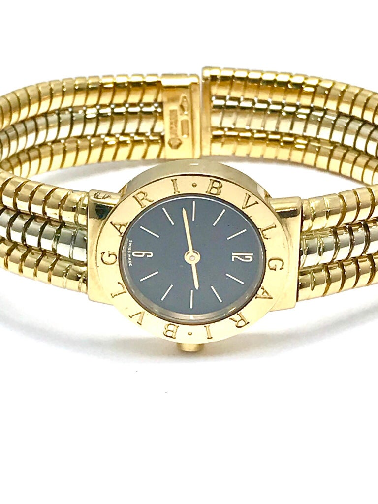 Bulgari Tubogas 18 Karat Tri-Color Gold Open Flex Watch Bangle Bracelet For Sale 6
