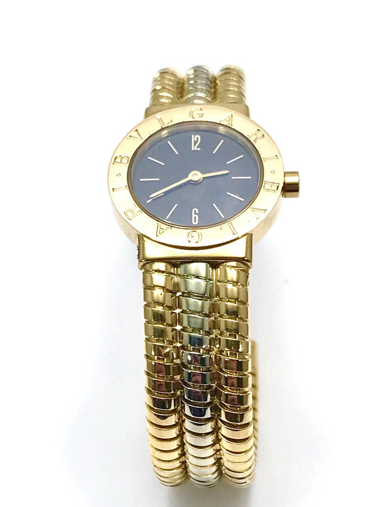 Retro Bulgari Tubogas 18 Karat Tri-Color Gold Open Flex Watch Bangle Bracelet For Sale