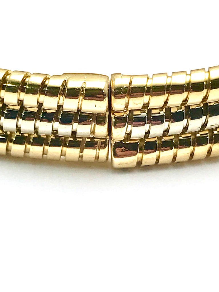 Bulgari Tubogas 18 Karat Tri-Color Gold Open Flex Watch Bangle Bracelet For Sale 4