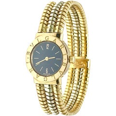 Bulgari Tubogas 18 Karat Tri-Color Gold Open Flex Watch Bangle Bracelet