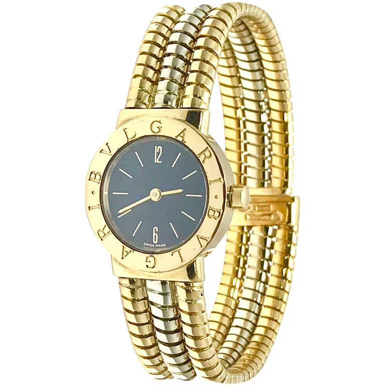 Bulgari Tubogas 18 Karat Tri-Color Gold Open Flex Watch Bangle Bracelet For Sale