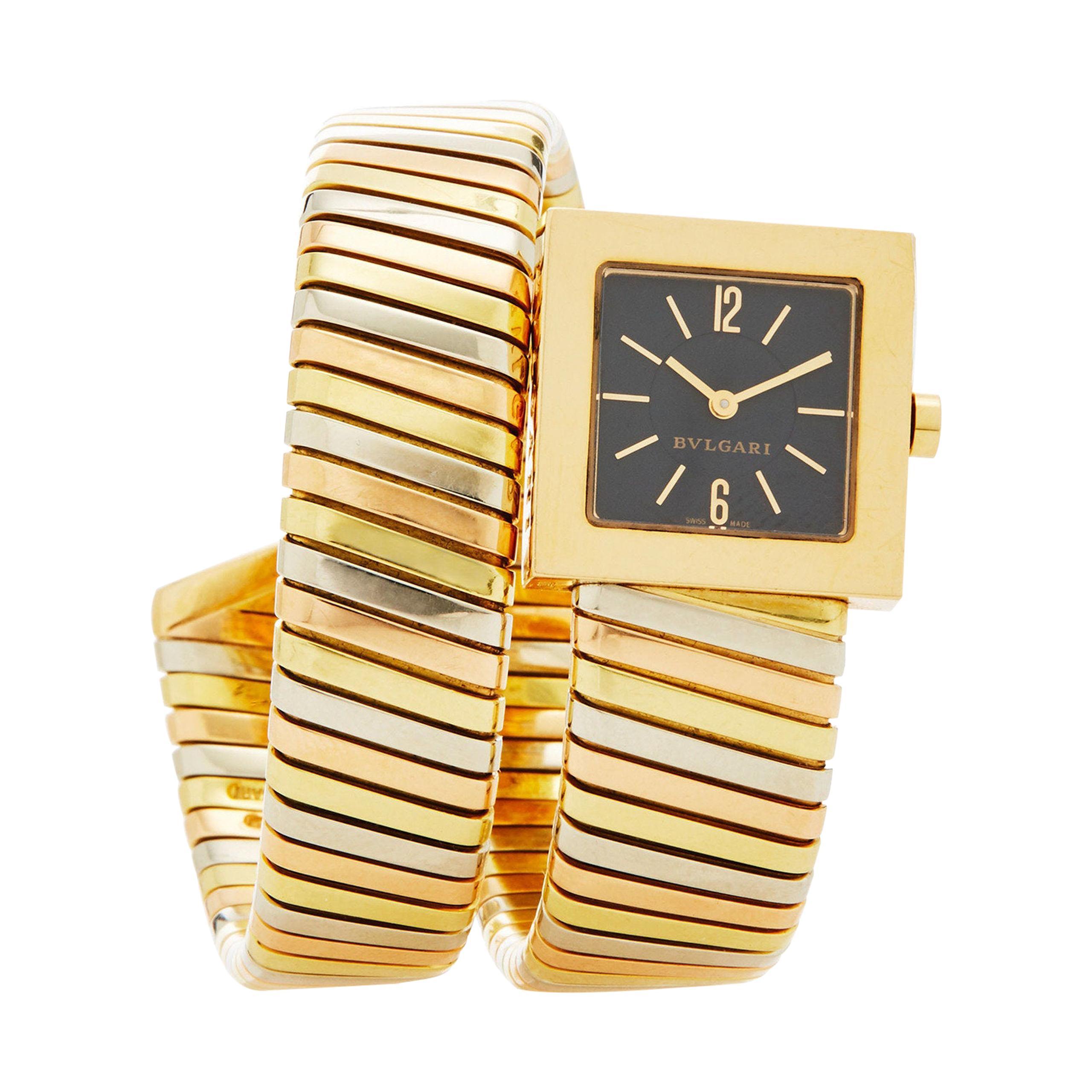 Bulgari Tubogas 18 Karat Tricolor Gold Watch