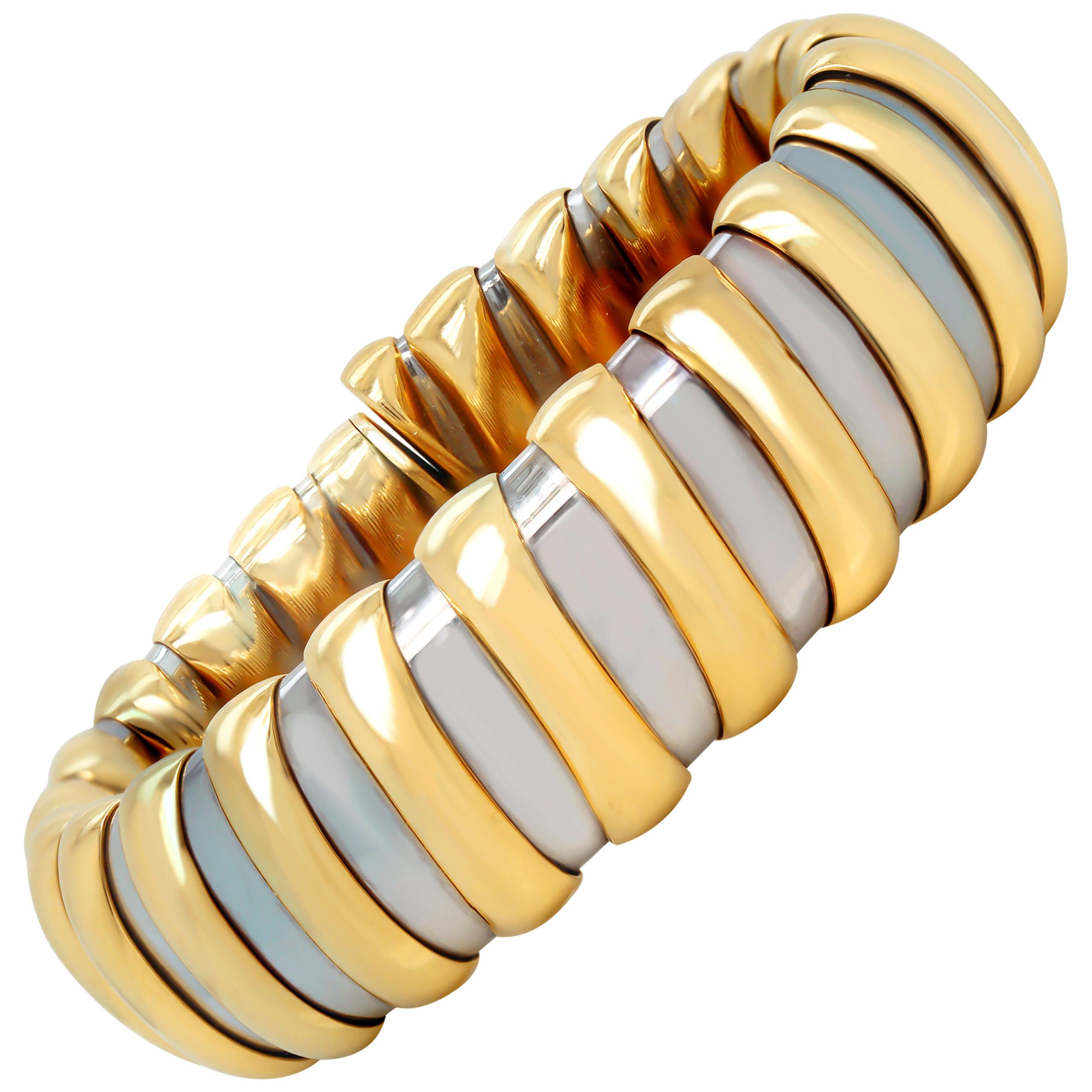 Bulgari Tubogas 18 Karat Yellow Gold Stainless Steel Flexible Bangle Bracelet