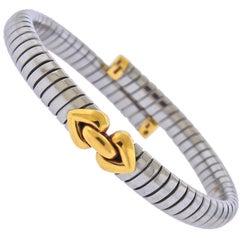 Bulgari Tubogas Alveare Gold Steel Bracelet