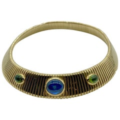 Bulgari Tubogas Cabochon Sapphire and Peridot Necklace