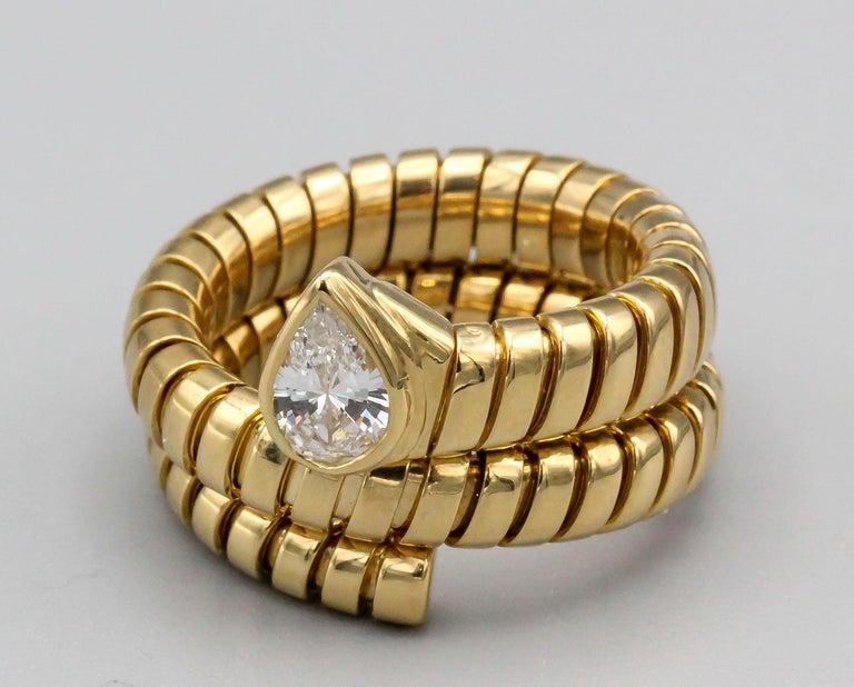 Women's Bulgari Tubogas Diamond and 18 Karat Yellow Gold Flexible Snake Ring For Sale